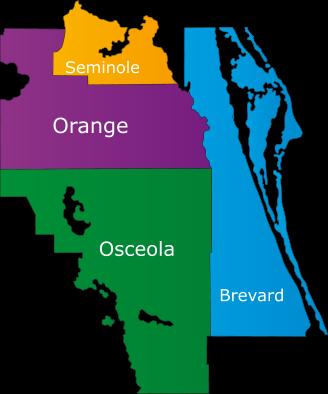 Orange, Osceola, Brevard, and Seminole Counties.